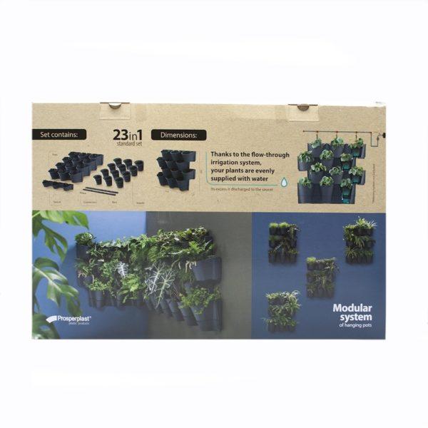 Növényfal építhető 23 részes antracit