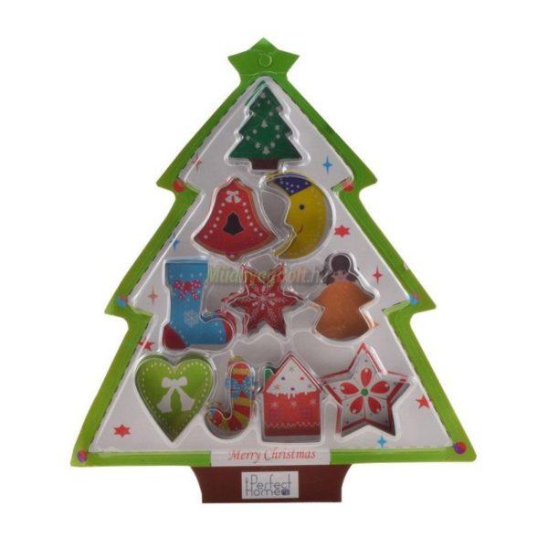 Süti kiszúró szett 10 db-os fém Karácsonyfa