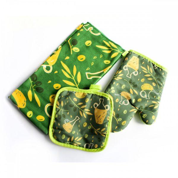 Edényfogó kesztyű szett textil 3 db-os 14570