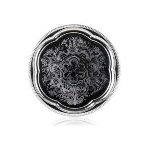 Kerek fém tálca króm Akcent 35 cm