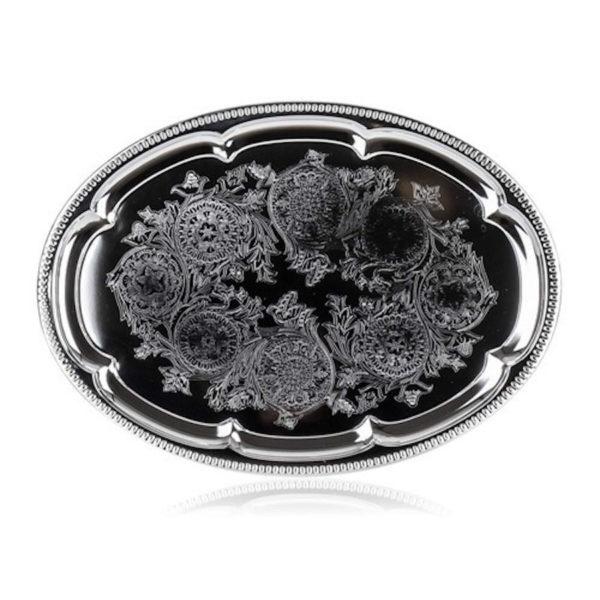 Ovális fém tálca króm 40,5x29 cm