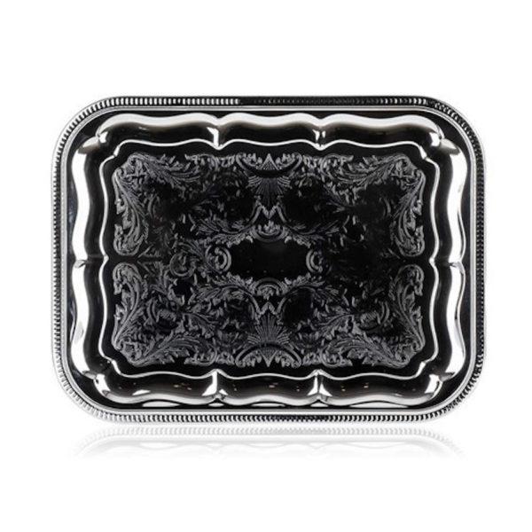Szögletes fém tálca króm 41x31 cm