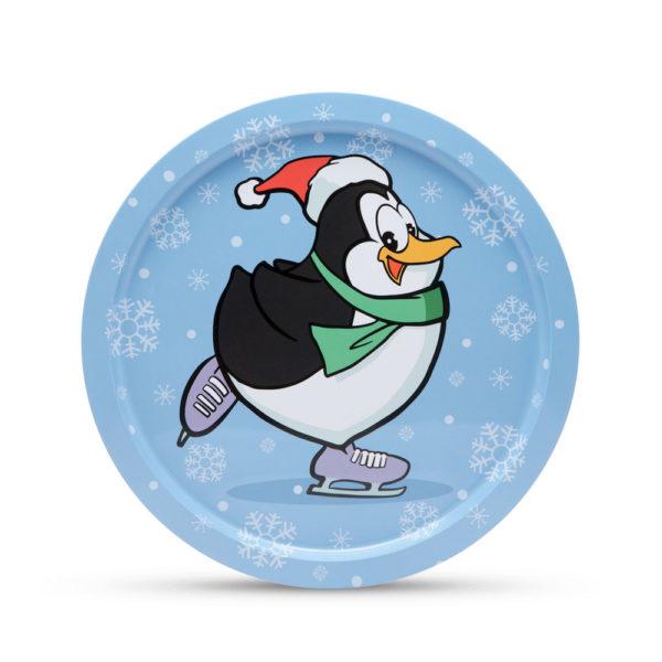 Fém tálca kerek 31 cm, Pingvin