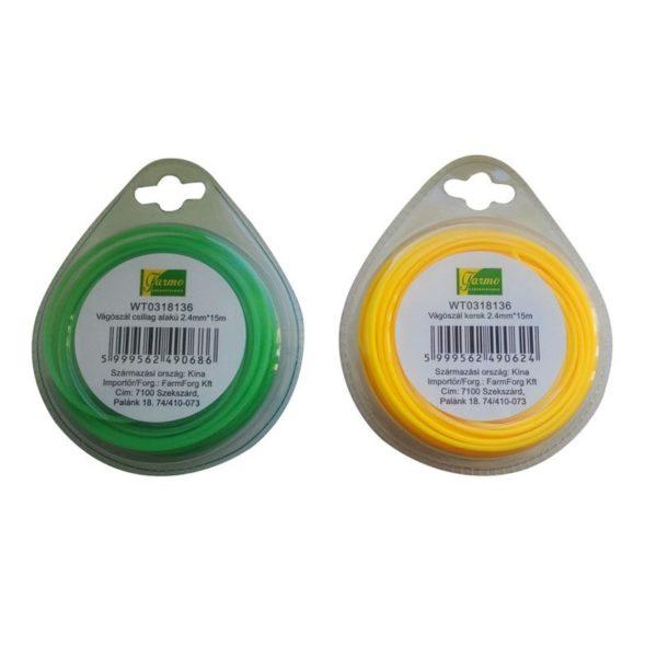 Farmo Fűkasza damil kerek 2,4 mm x 15 m sárga