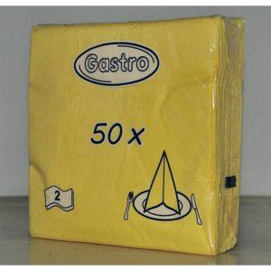 Eldobható Szalvéta 2 rétegű 33x33 cm sárga 50 db/cs