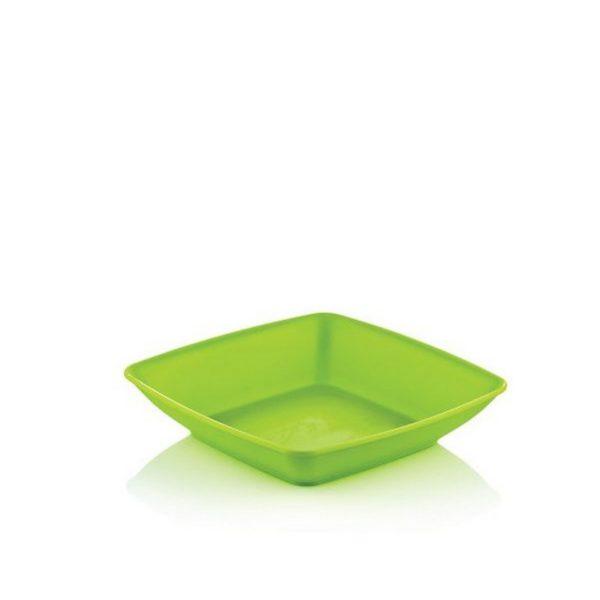 Hobby szögletes műanyag mélytányér 18x18 cm 031292