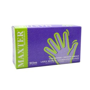 Egyszer használatos kesztyű Maxter Latex 5,5 g L-es 100db/cs.